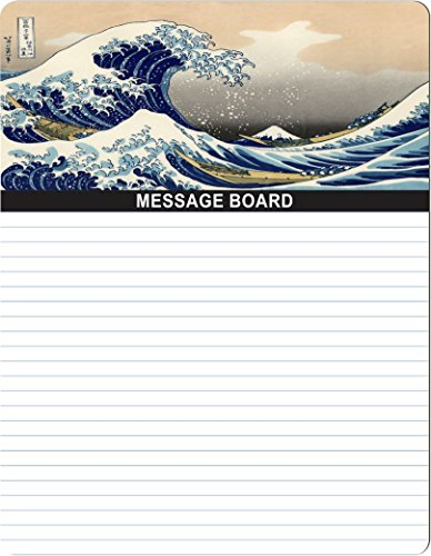 "Rikki Knight Katsushika Hokusai Art A Big wave of Kanagawa Design 8"" x 10"" x 1/8 Hardboard Dry Erase Message board with Magnet strips on back (Black Marker included) by Rikki Knight"