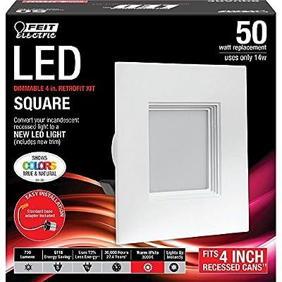 Feit Squared 4 Inch LED Retrofit Kit- 3000k, 700 Lumens