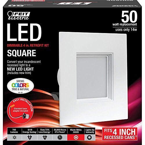 Feit Squared 4 Inch LED Retrofit Kit- 3000k, 700 Lumens by Feit Electric