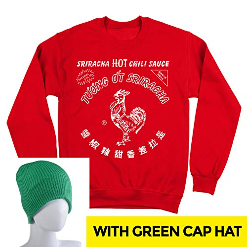 Sriracha Hot Chili Sauce Bottle Costume Outfit with Hat Mens Sweatshirt Small Red -