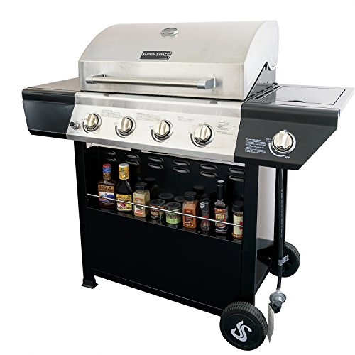 SUPER SPACE 60,000 BTU 4 Burner Barbecue BBQ Gas Grills Stainless Steel Patio Outdoor Propane Gas Grills with Side Burner,Seasoning Shelf, Silver/Black