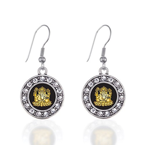 Inspired Silver - Ganesh Charm Earrings for Women - Silver Circle Charm French Hook Drop Earrings with Cubic Zirconia Jewelry ()