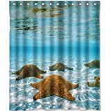 Custom Unique Design Beach with Starfish and the Sea Ocean Waterproof Fabric Shower Curtain, 72 by 60-Inch