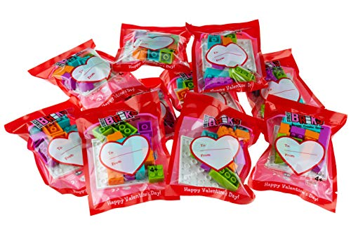 Strictly Briks - Valentine's Day Party Favors - 10 Pack of Building Bricks for Classroom Gift Box Exchange - Healthy and Engaging Alternative to Candy and Cards