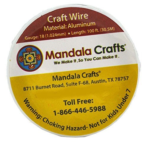 Mandala Crafts Anodized Aluminum Wire for Sculpting, Armature, Jewelry Making, Gem Metal Wrap, Garden, Colored and Soft, 1 Roll(18 Gauge, Gold)