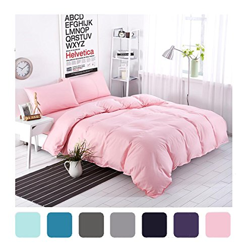 Moreover 4-Pieces Pink Bedding, Lightweight Microfiber Solid Color Duvet Cover Set, Pink Bedding For Girls