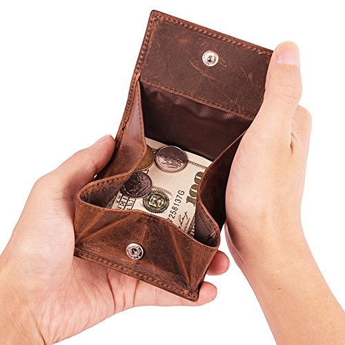 Leather Coin Purse (Small Coin Purse Crazy Horse Cow Leather for Men (Brown) ¡)