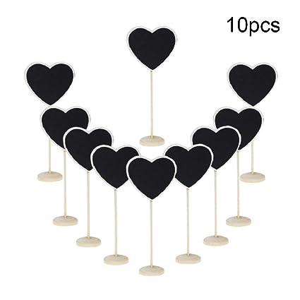 NYKKOLA - 10 mini pizarras de madera con diseño de corazón ...