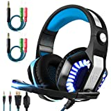 Professional Stereo Gaming Headset for Xbox One PC PS4 Nintendo Switch VR with Microphone,Led Light,Bass Surround Sound,Over Ear Noise Cancelling Headphones for Laptop MAC Games with USB