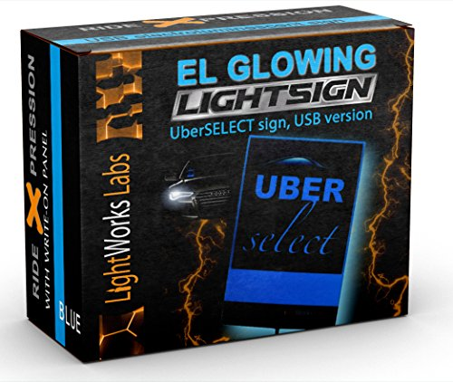 UberSELECT Illuminated Glowing Blue Electroluminescent LED Light Sign For Drivers