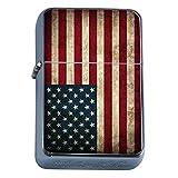 Vintage American Flag Flip Top Oil Lighter D1 Patriotic Freedom American Heroes Veterans