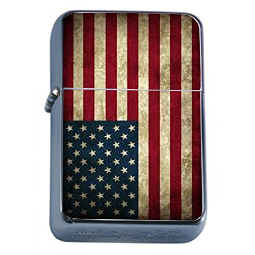 Vintage American Flag Flip Top Oil Lighter D1 Patriotic Freedom American Heroes Veterans by Perfection In Style