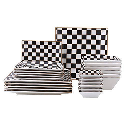 Porlien Checker Pattern 24-piece Square Dinnerware Set for 6 with Side Dishes