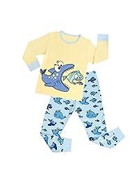 DAWILS Boys Fish Pajamas 2 Piece Pjs Sets 100% Cotton Long Sleeve Sleepwear 2-7T