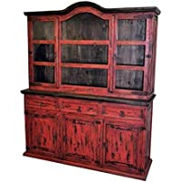 Rustic Red Scraped Medium 2 Piece China Cabinet Buffet Shabby Chic Sideboard