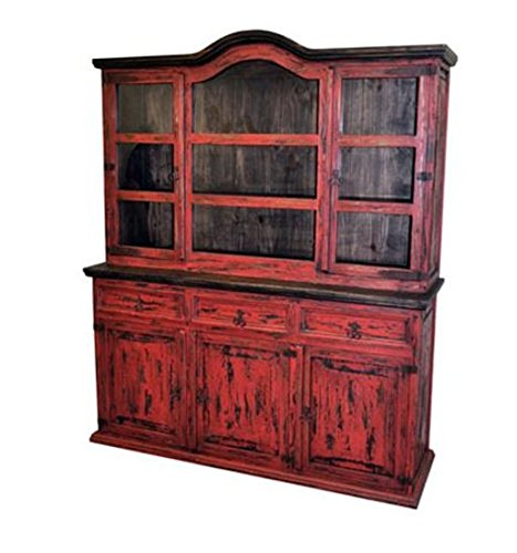 Rustic Red Scraped Medium 2 Piece China Cabinet Buffet Shabby Chic Sideboard Review