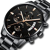NIBOSI Men's Watches Sports Luxury Chronograph Waterproof Military Quartz Wristwatches for Men Rose Gold Hands Black&Rose Gold Color