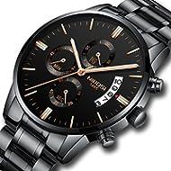 NIBOSI Men's Watches Sports Luxury Chronograph Waterproof Military Quartz Wristwatches for Men...