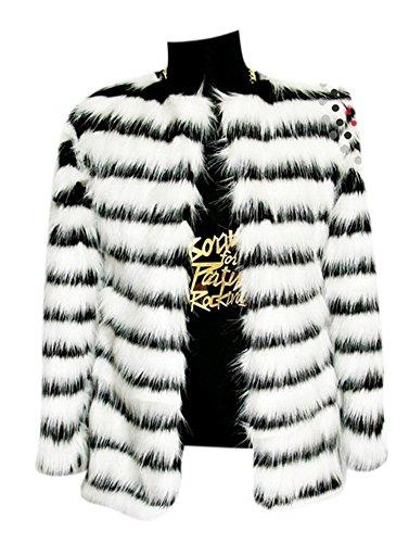 Men's Plus Size Color-Block Midi Length Faux Fur Mink Coat Outerwear Jacket M Black & White