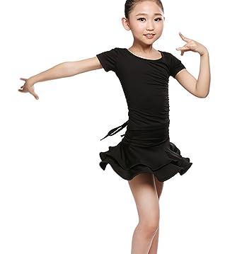 4d1b602058a7 Children girls Practice clothes Latin dance dress two sets Cha Cha skirts  Tango dress black 120