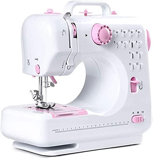 Mini Sewing Machine Portable Electric Small Household Sewing Handheld Tool with Foot Pedal 12 Built-in Stitches 2 Speeds LED Light Overlock Function for Amateurs Beginners Embroidery Pink