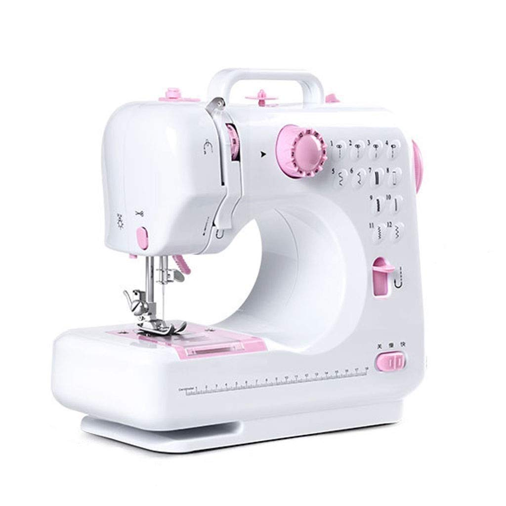 JLL Sewing Machine Mini Portable Electric Portable Household with Foot Pedal Overlock 12 Built-in Stitches for Amateurs Beginners Embroidery Pink Safety (Color : Pink) by JLL