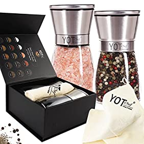 Salt And Pepper Grinder Set - Luxury Pepper Mill and Salt Mill - Adjustable Coarseness Ceramic Spices Grinder- Supreme Elegance Stainless Steel Salt and Pepper Shakers - Great Gift Idea by YOT Chef