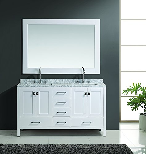 Design Element London Double Sink Vanity Set, 60-Inch, White