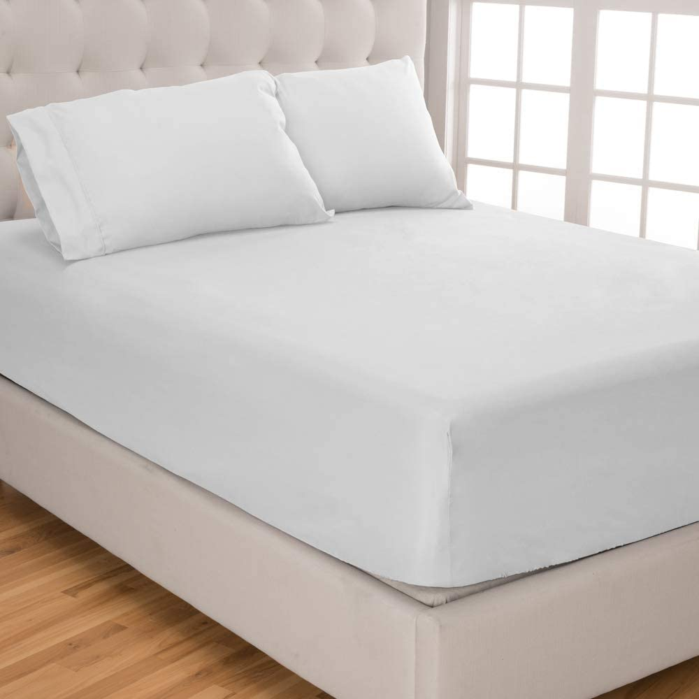 Bare Home Fitted Sheet + Pillowcase Set - Premium 1800 Ultra-Soft Microfiber - Hypoallergenic - Wrinkle Resistant (Queen, White)