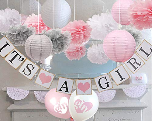 luckylibra Baby Girl Baby Shower Decorations, It is a Girl Banners and Paper Lantern Paper Flower Pom Poms (Pink White Grey) ()