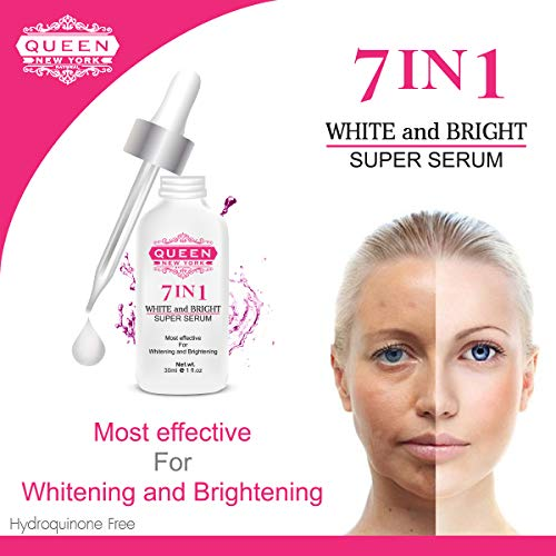 7in1 White and Bright Super Serum-with Tranexamic, Alpha arbutin, Glutathione, Hyaluronic Acid and Vitamin C-Maximum Strength-Dark Spots,Hyper-pigmentation, Melasma and Sun Damage (1 Bottle)