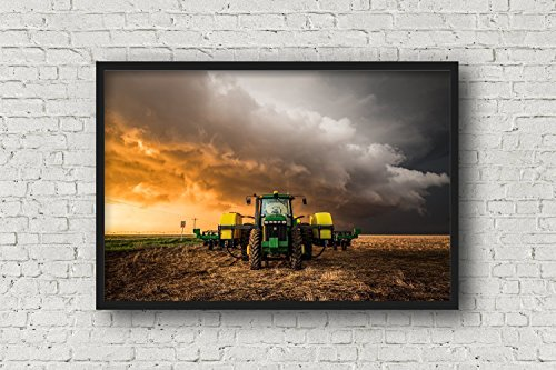 Tractor Photography Wall Art Print - Picture of John Deere Tractor and Golden Thunderstorm Farm Artwork for Home Decoration 5x7 to 30x45