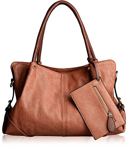 Fabric Handbags Totes Purses Wallets (AB Earth 3 Pieces Women Hobo Handbag PU Leather Totes Matching Wallet Satchel Shoulder Bag, M898 (Brown))