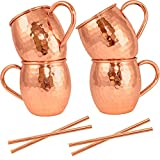 Moscow Mule Mugs Set of 4 + Copper Straws by Artisan's Anvil – Four Solid 16 oz Copper Mugs Gift Set – 100% Pure Hammered Copper Barrel Mugs – Handmade Unlined Copper Cups