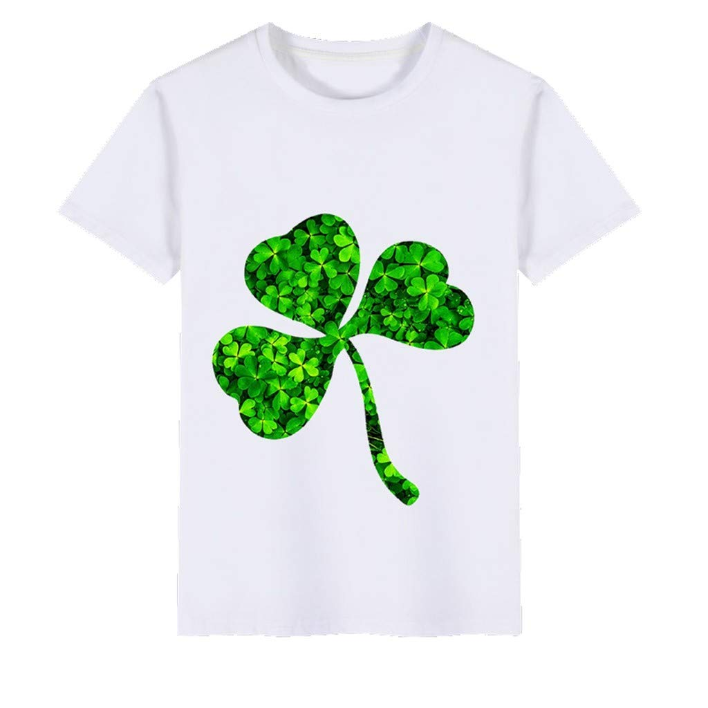 Boys T-Shirts,Clover Print Kids Wild Tops,St. Patrick's Day Memorial Clothing Boy Tee 2~6 Years Old(B,100) by Wesracia (Image #2)