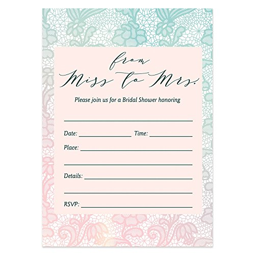 50 Bridal Shower Invitations with Envelopes (Pack of 50) Romantic Pastel Lace Bridal Shower Invites Excellent Value Wedding Party Invitations VI0011