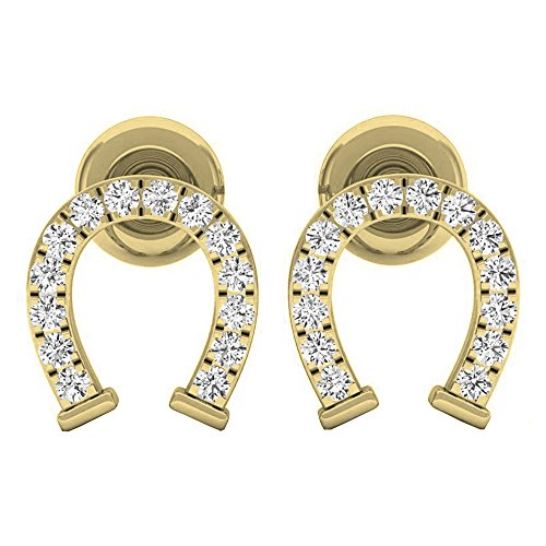 Dazzlingrock Collection 0.10 Carat (ctw) 10K Round White Diamond Ladies Horseshoe Stud Earrings 1/10 CT, Yellow Gold ()