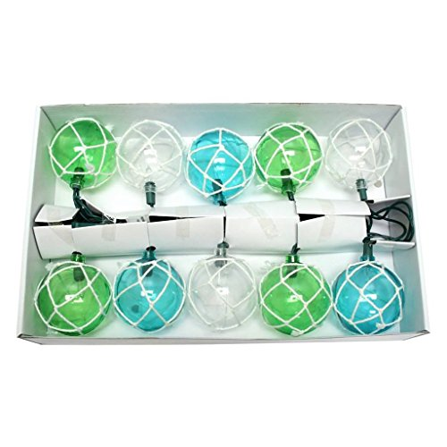 8.5' Glass (Dennis East Vintage Glass-Style Buoy Float String Lights - Bleached Rope)
