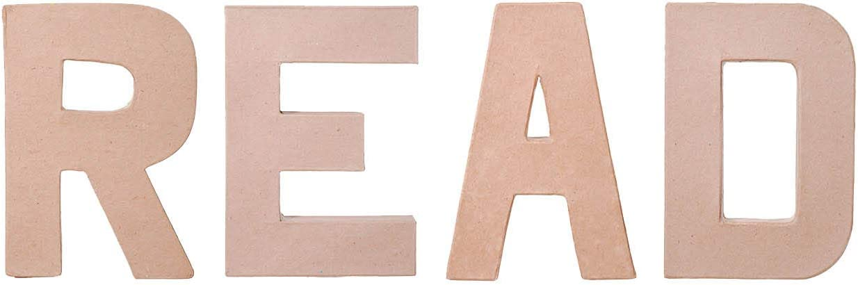 DIY Craft - Wall or Shelf Decor Project - Unfinished Paper Mache Letters Read - 4 Piece Bundle - 8 Inch Each