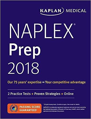 NAPLEX Prep 2018 2 Practice Tests Proven Strategies Online Kaplan Naplex 1st Edition