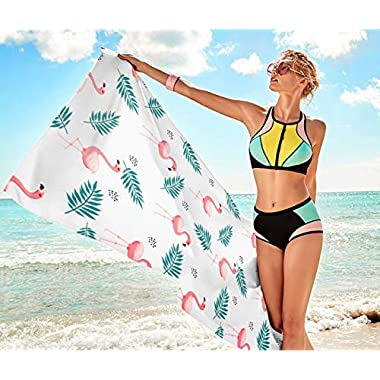 Flamingo Print Rectangular Beach Towel, Incredibly Soft Highly Absorbent Personalized Towel, 30  59  Custom Micro Velour Bath Towel,Gift for Friends and Family