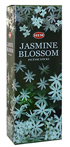 Jasmine Blossom - Box of Six 20 Stick Hex Tubes - HEM Incense Hand Rolled In India ()