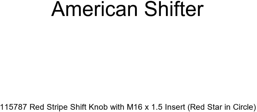 Red Star in Circle American Shifter 115787 Red Stripe Shift Knob with M16 x 1.5 Insert