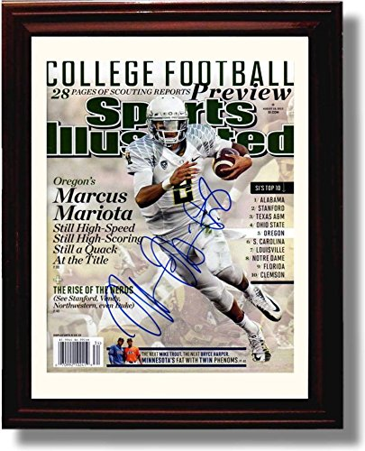 Framed Oregon Ducks Football 2013 Sports Illustrated Preview Marcus Mariota Autograph Replica Photo