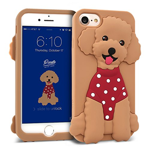 iPhone 8 / iPhone 7 Case DesignSkin Witty Look 3D Cute Puppy Dog Pet Protective Shock Absorbing Anti-Slip Flexible Soft Silicone Cover, for iPhone 8/7 Compatible w/iPhone 6s/6 (Brown & Poodle) ()