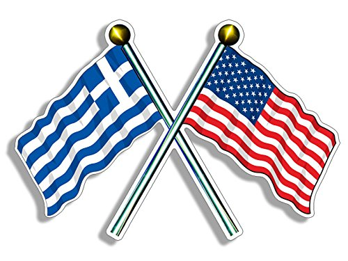 - Crossed Poles USA & Greece Waving Flags Sticker (American Greek)