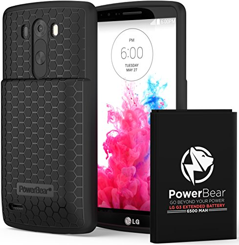 PowerBear LG G3 Extended Battery [6500mAh] & Back Cover & Protective Case (Up to 2.2X Extra Battery Power) - Black [24 Month Warranty & Screen Protector Included]