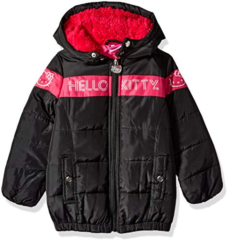 Hello Kitty Girls' Toddler Long Puffer Jacket with Hood, Black/Pink, 2T