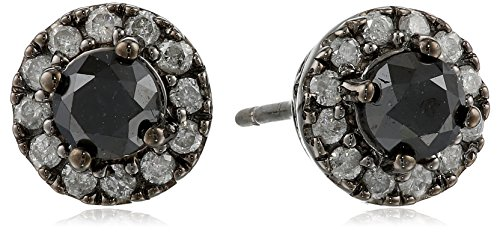 Sterling Silver Black and White Earrings, (1cttw,G-H Color,I2;I3 Clarity)