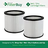 2 - Shop-Vac 90304, 90304-00, 9030400, 903-04-00 Vacuum Cleaner Filters. Designed by FilterBuy to fit Shop-Vac Model 6L550, Genie 88-2340-02 (88234002) and Hang Up Vacuum 9039800.
